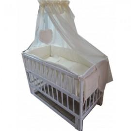 Акция! Кроватка маятник Малыш белая  матрас кокос постельное 8 эл.