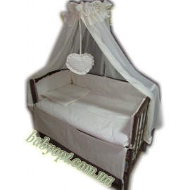 Акция! Постельное бельё в детскую кроватку Baby жакард линия ваниль 8 эл. В подарок - подвеска сердечко
