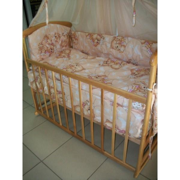 """Комплект """"Наталка с комодом светлая"""" : Комод 3+2 венге светлый, кроватка Наталка на дугах,  матрас кокос,   постельный набор. Светлое дерево"""