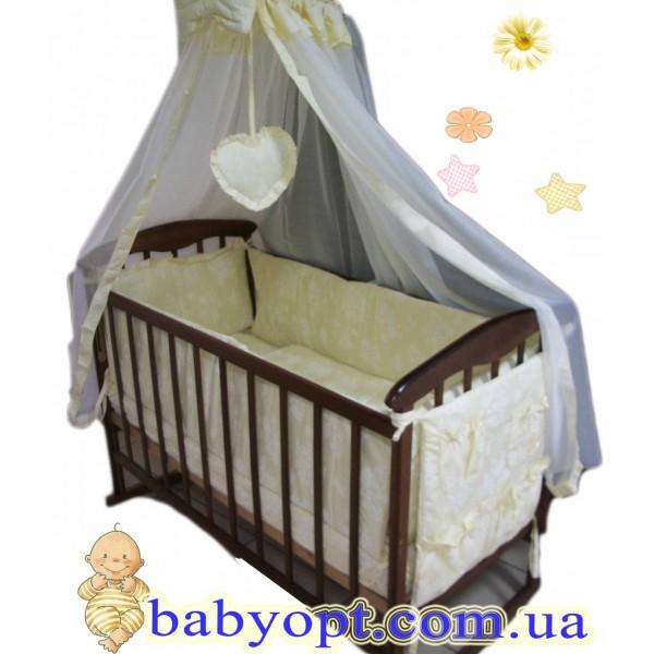 Набор в детскую кроватку! Baby жакард цветочки 8 эл. Поликотон