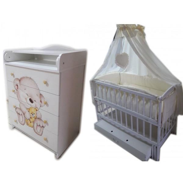 """Акция! Комплект """"Малыш с комодом фотопечать белый"""" : Комод+ кроватка маятник+ матрас кокос + постельный набор"""