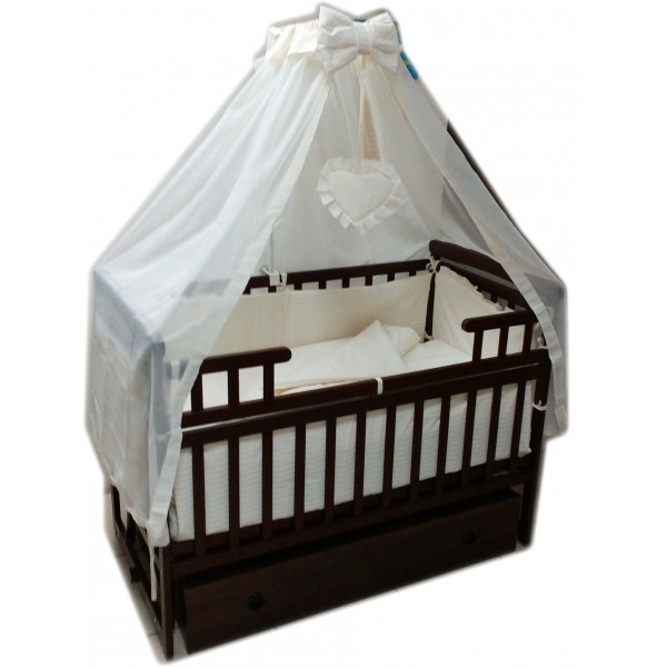 """Акция! Комплект для сна """"Элит"""". Кроватка маятник + ящик + матрас ортопедический + постельный набор 10 эл. + держатель"""