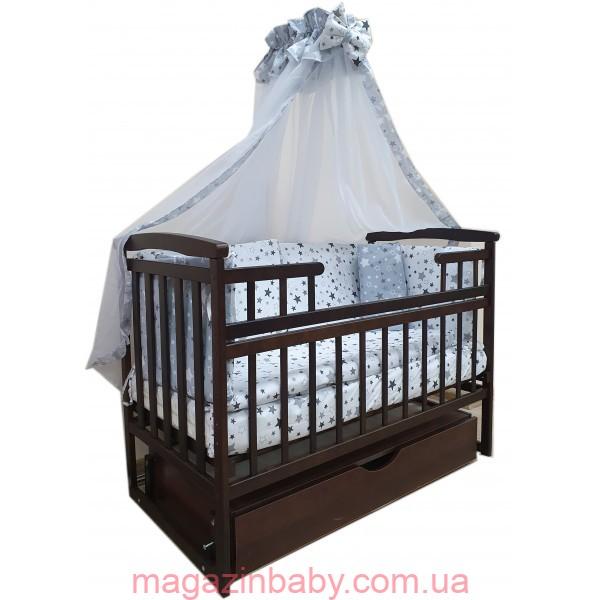"""Акция! Комплект для сна """"Лодочка"""". Кроватка маятник + матрас ортопедический + постельный набор 8 эл."""