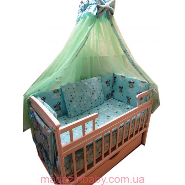 """Акция! Комплект для сна """"Элит ваниль"""". Кроватка маятник лодочка + ящик + матрас ортопедический 11 см + постельный набор 10 эл. + держатель"""
