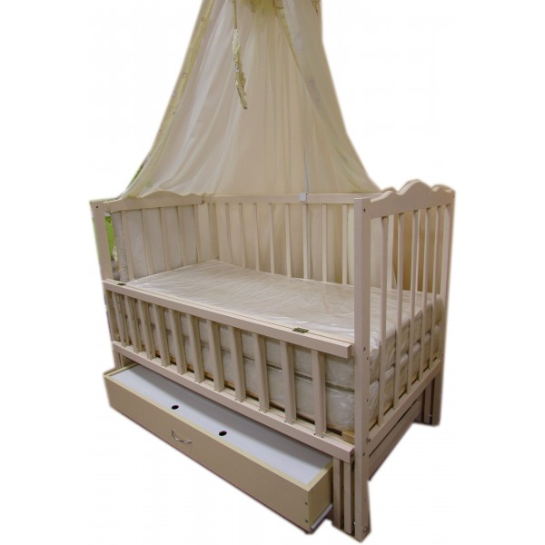 """Акция! Комплект """"Малыш с комодом беж"""" : Комод+ кроватка маятник+ матрас кокос + постельный набор"""