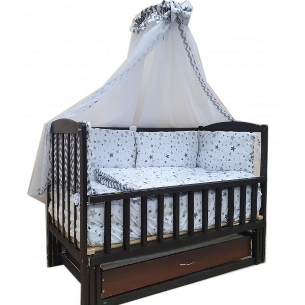 """Акция! Кроватка маятник """"Малыш Люкс"""" с ящиком венге, матрас кокос, постельный набор 8 эл."""