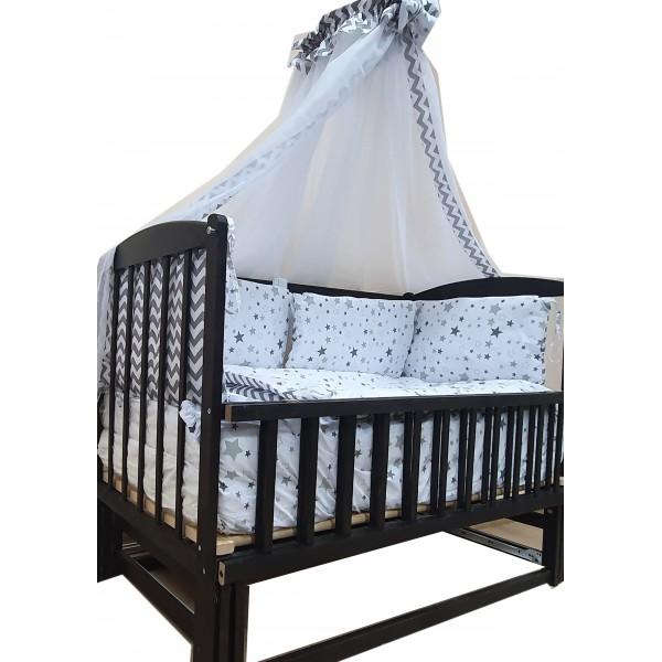 """Акция! Комплект: Кроватка - маятник """"Малыш """"венге""""  постельное 8 элементов  кокосовый матрас."""