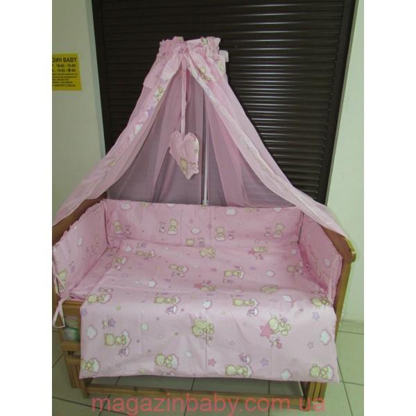 Постельное бельё в детскую кроватку Мишки маленькие 8 эл розовое