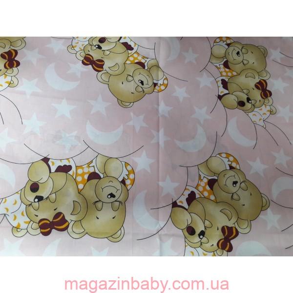 """Постельный набор в кроватку  8 элементов ТМ """"Baby"""" """"Мишки спят New""""  розовое"""
