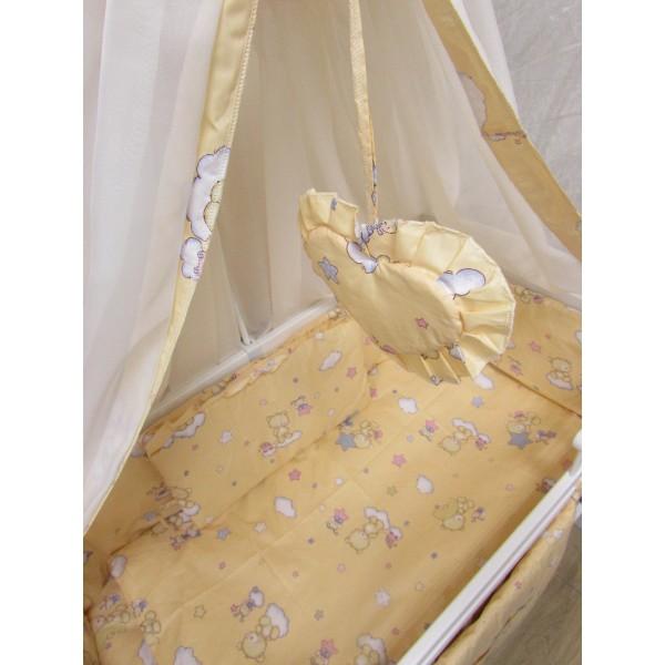 """Акция! Набор постельного в детскую кроватку 8 элементов """"Мишки маленькие персиковый"""""""