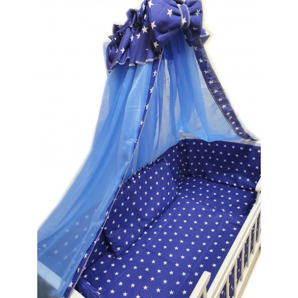 """Акция! Набор постельного в детскую кроватку 8 элементов """"Синий с белыми маленькими звездами"""""""