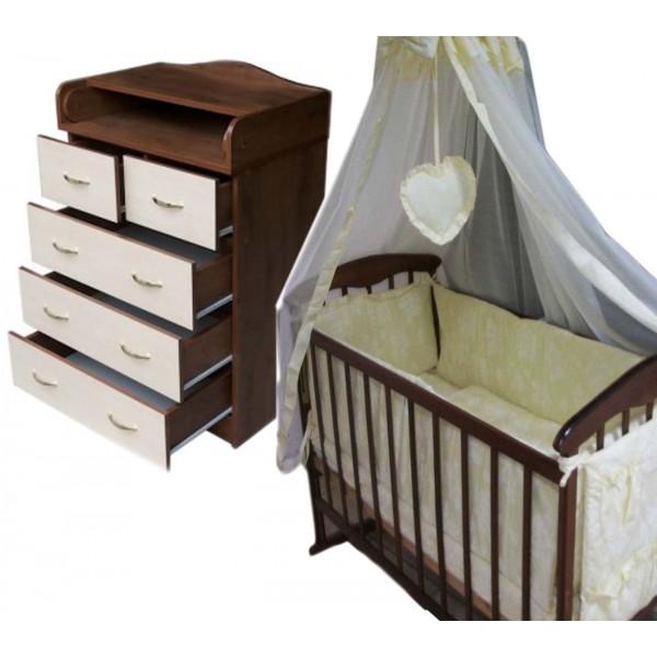 """Акция! Комплект """"Соня"""" : Комод+ кроватка + матрас кокос + постельный набор"""